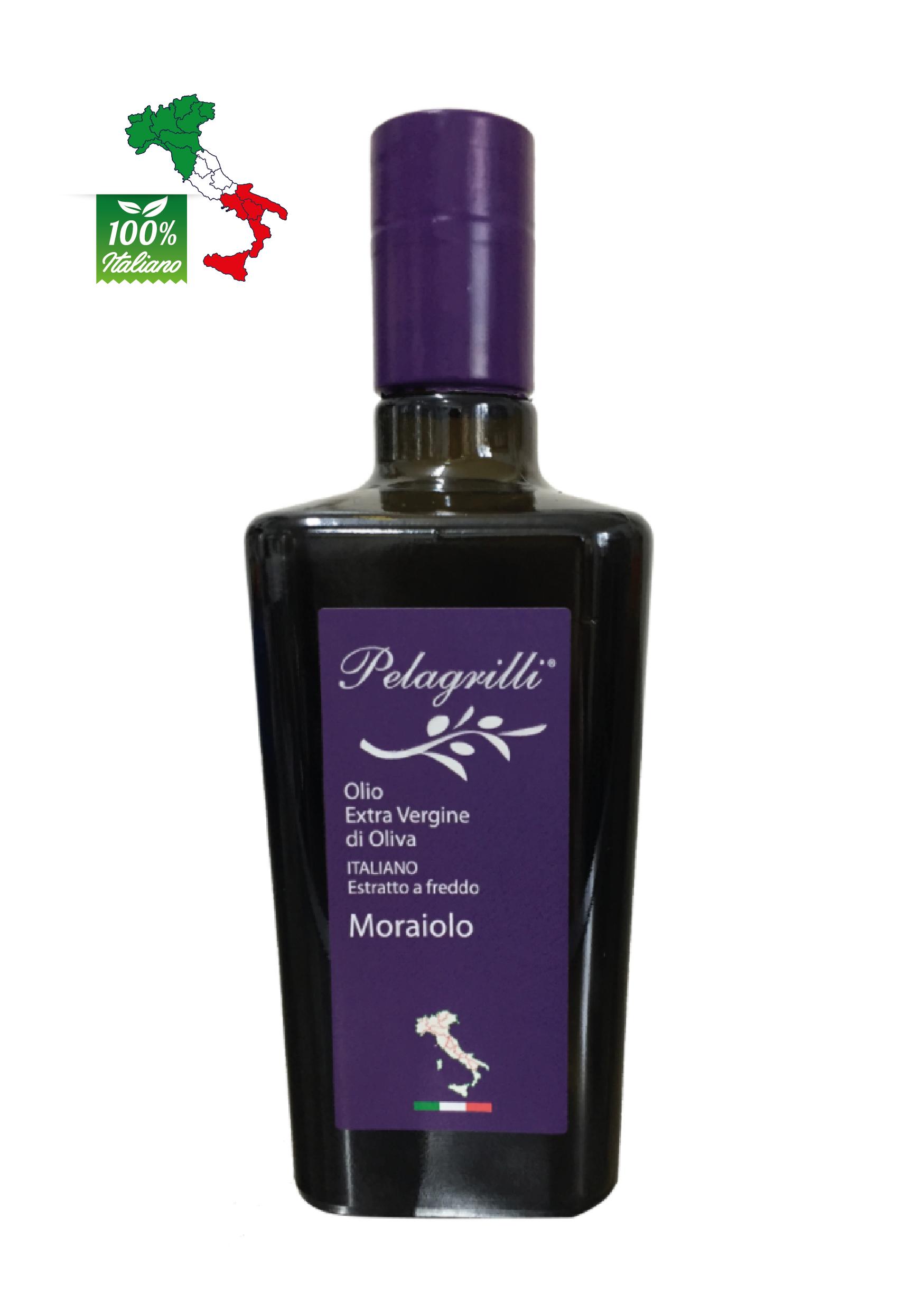 MORAIOLO 100% ITALIANO Monocultivar LT 0,5  Olio extravergine di oliva - Raccolto 2021-2022- estratto a freddo FILTRATO