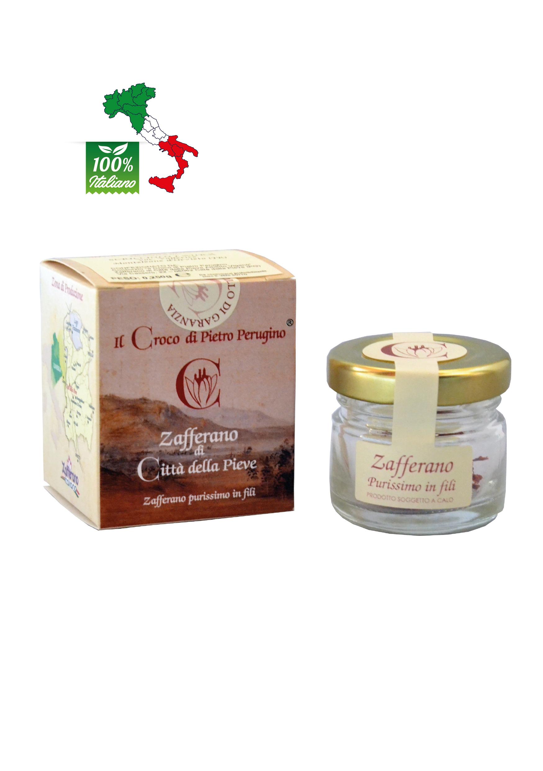 Zafferano di Città della Pieve in pistilli prodotto in Umbria - vasetto da gr 0,25
