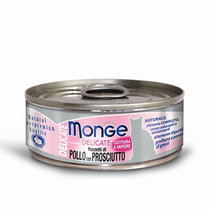 MONGE DELICATE POLLO CON PROSCIUTTO PER GATTO 80gr