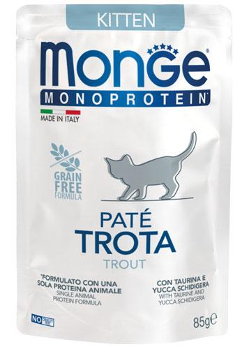 MONGE MONOPROTEIN BUSTA TROTA PATE' PER GATTINO 85gr