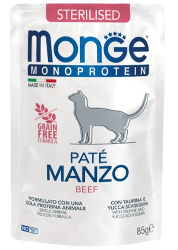 MONGE MONOPROTEIN BUSTA MANZO PATE' PER GATTO STERILIZZATO 85gr