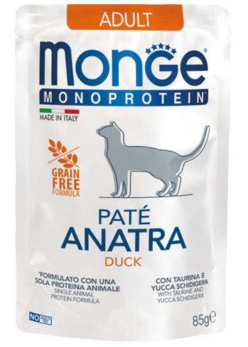 MONGE MONOPROTEIN BUSTA ANATRA PATE' PER GATTO 85gr