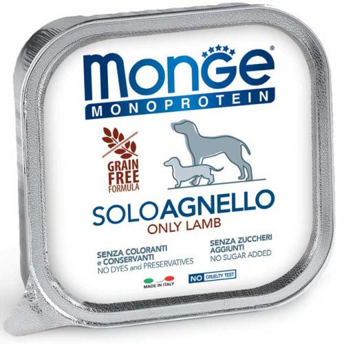 MONGE MONOPROTEICO SOLO AGNELLO PATE' PER CANE 150GR