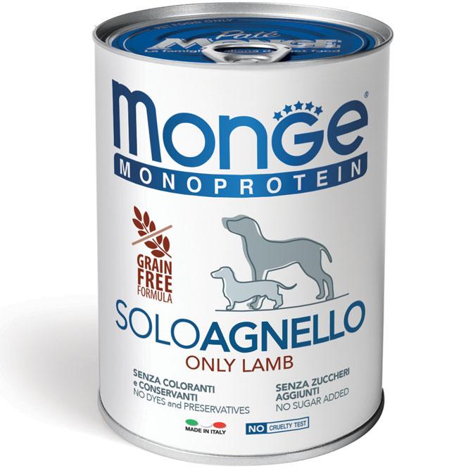 MONGE MONOPROTEICO SOLO AGNELLO PATE' PER CANE 400GR