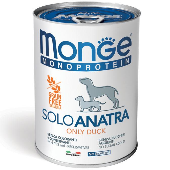 MONGE MONOPROTEICO SOLO ANATRA PATE' PER CANE 400GR