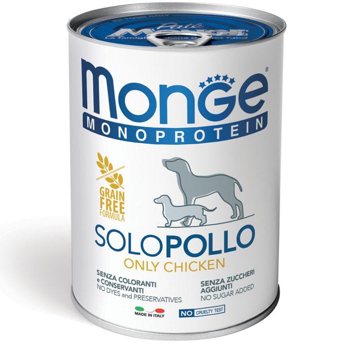 MONGE MONOPROTEICO SOLO POLLO PATE' PER CANE 400GR
