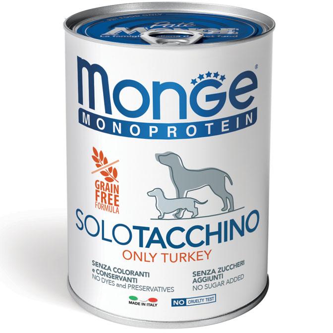 MONGE MONOPROTEICO SOLO TACCHINO PATE' PER CANE 400GR