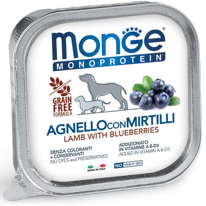 MONGE MONOPROTEICO FRUIT AGNELLO CON MIRTILLI PATE' PER CANE 150GR