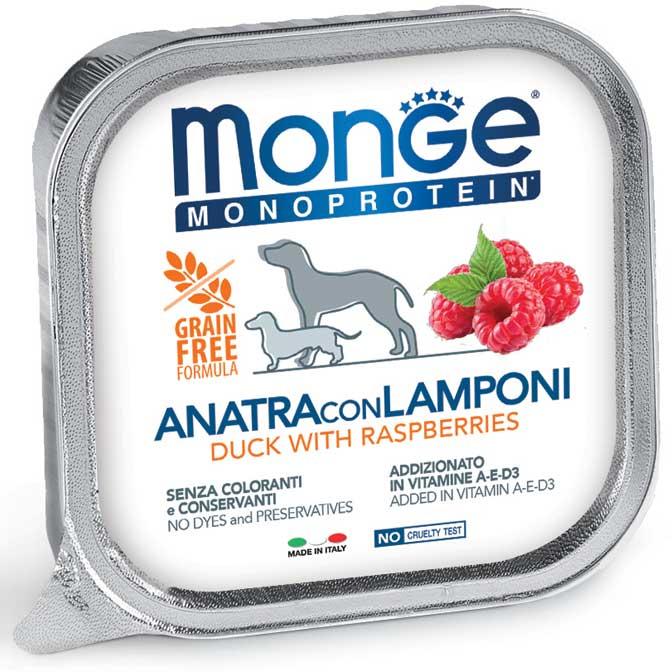 MONGE MONOPROTEICO FRUIT ANATRA CON LAMPONI PATE' PER CANE 150GR