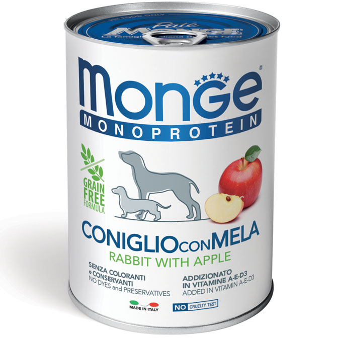 MONGE MONOPROTEICO FRUIT CONIGLIO CON MELA PATE' PER CANE 400GR