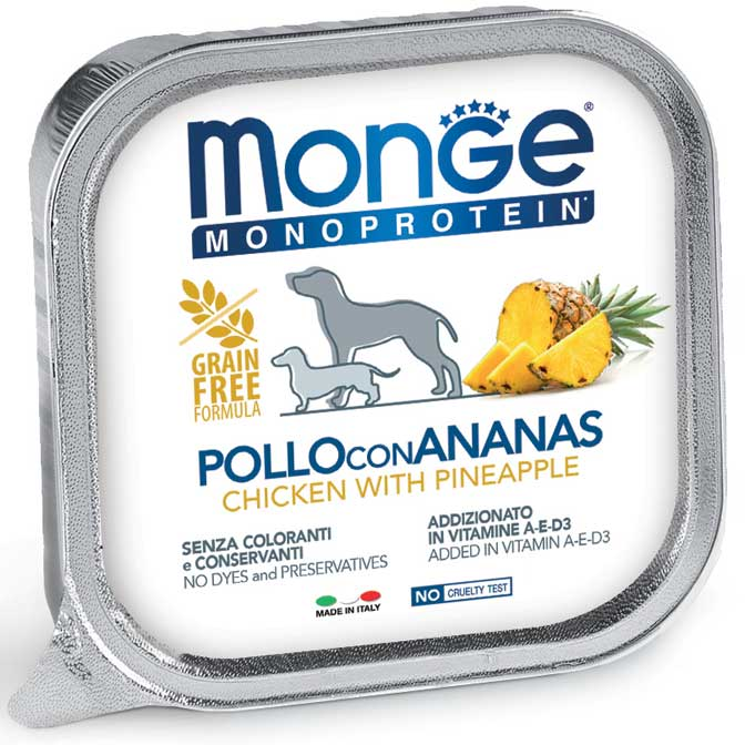 MONGE MONOPROTEICO FRUIT POLLO CON ANANAS PATE' PER CANE 150GR