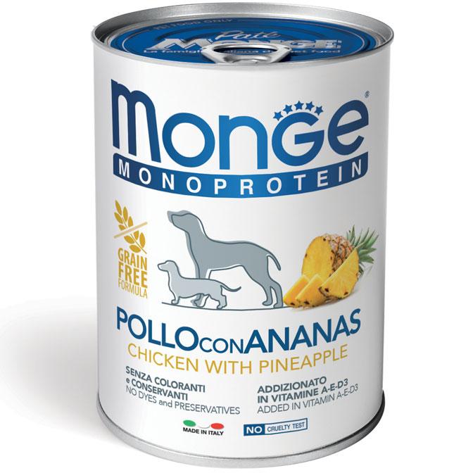MONGE MONOPROTEICO FRUIT POLLO CON ANANAS PATE' PER CANE 400GR