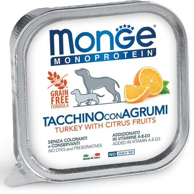 MONGE MONOPROTEICO FRUIT TACCHIINO CON AGRUMI PATE' PER CANE 150GR