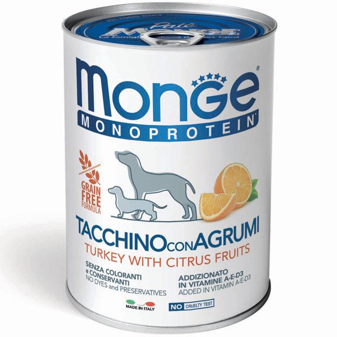 MONGE MONOPROTEICO FRUIT TACCHINO CON AGRUMI PATE' PER CANE 400GR