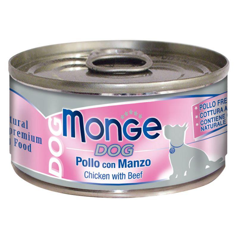 MONGE NATURAL POLLO CON MANZO PER CANE 95GR