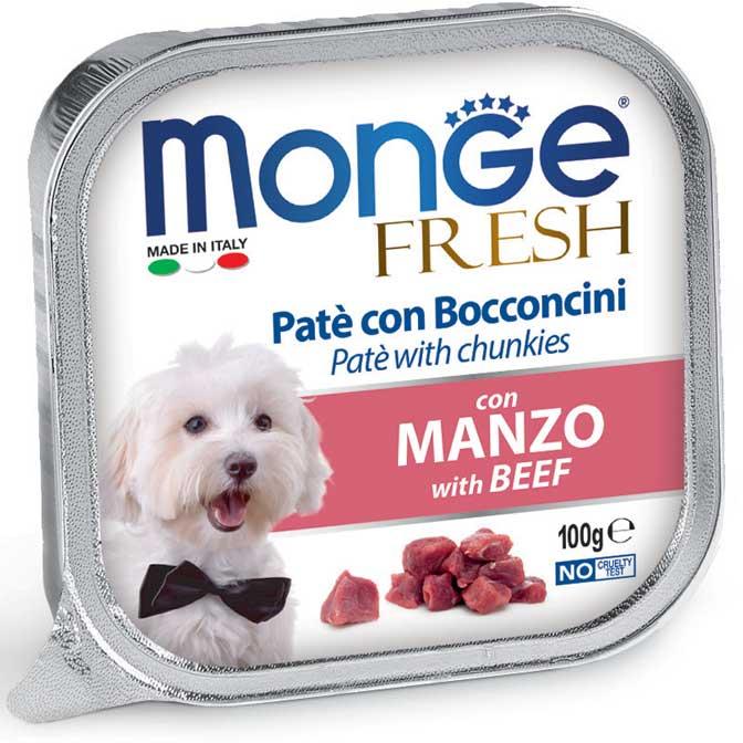 MONGE FRESH MANZO PATE' CON BOCCONCINI PER CANE 100GR