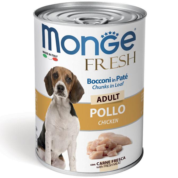 MONGE FRESH POLLO PATE' CON BOCCONCINI PER CANE 400GR