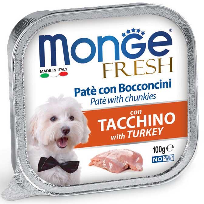 MONGE FRESH TACCHINO PATE' CON BOCCONCINI PER CANE 100GR