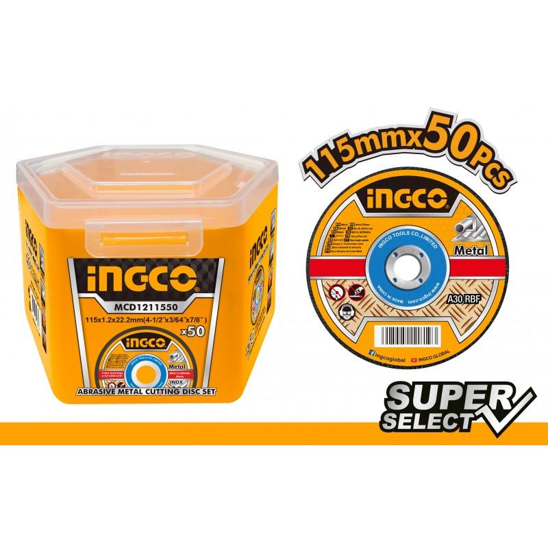 Disco Taglio per Metallo e Inox 115x1,2mm 50pz INGCO