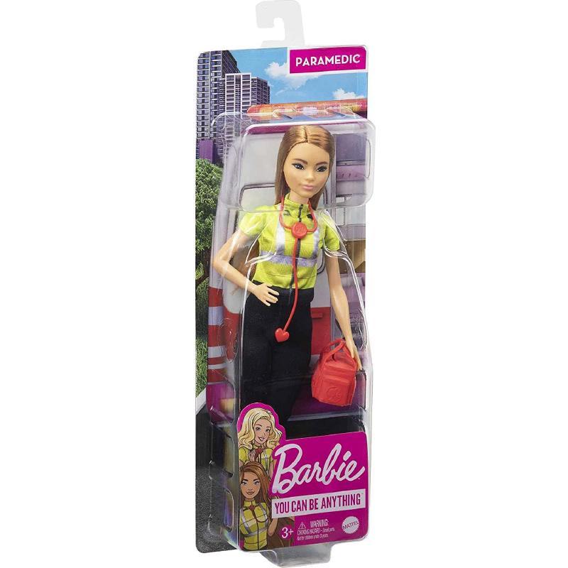 Barbie - Bambola Paramedico Bruna con Stetoscopio, Kit di Pronto Soccorso