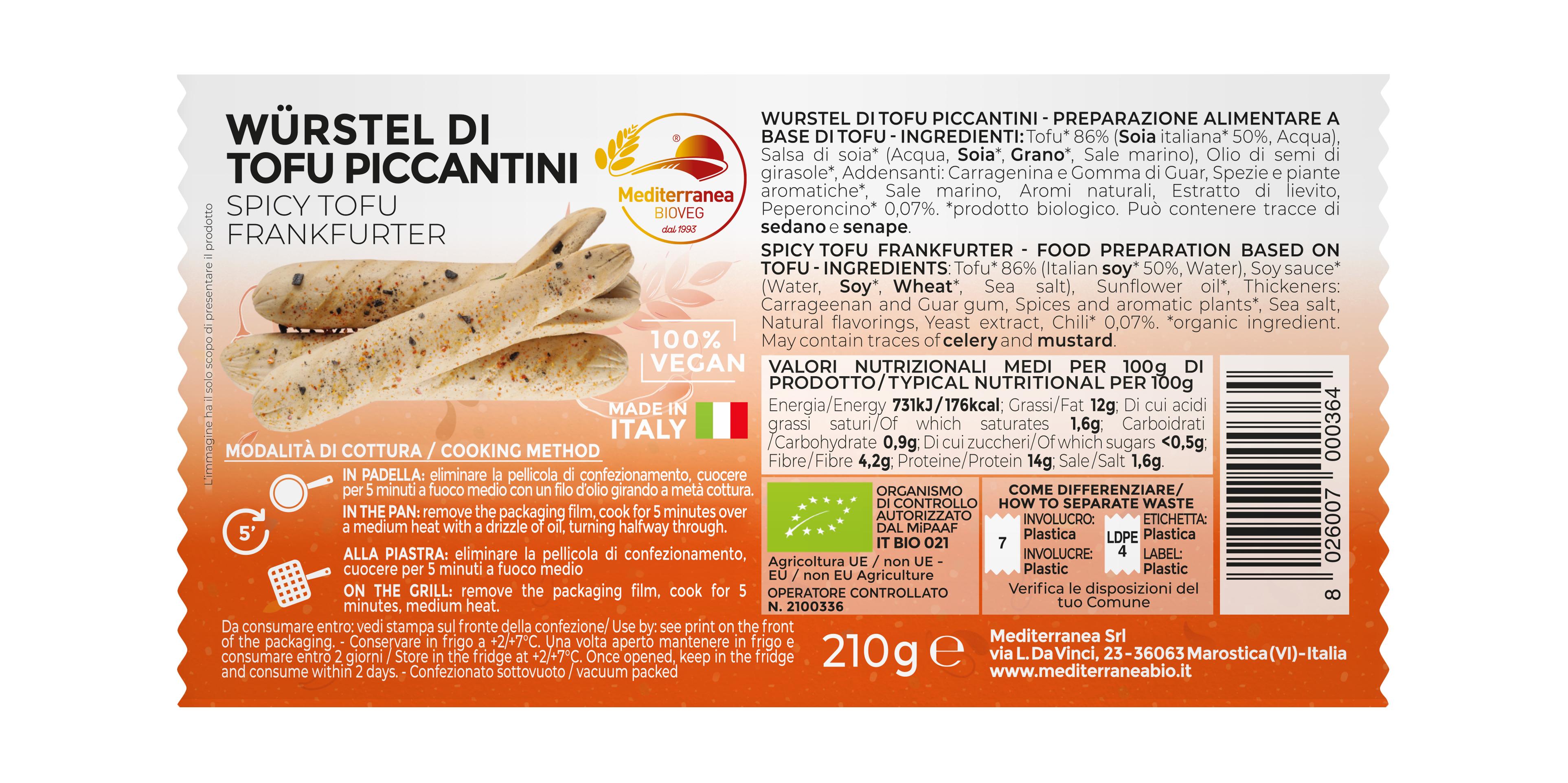 Würstel di tofu piccantini