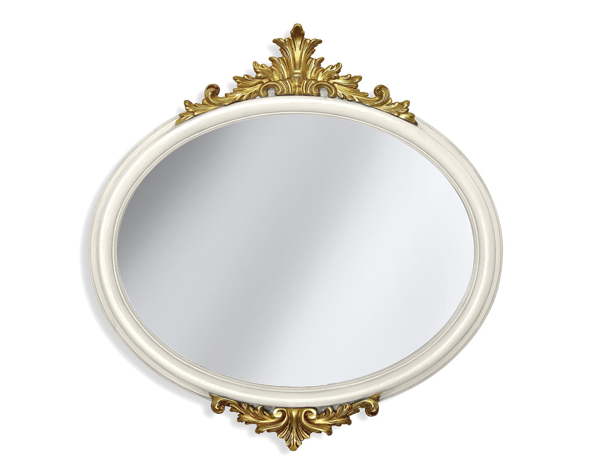 Ovaler Spiegel mit Schnitzereien und Blattgold