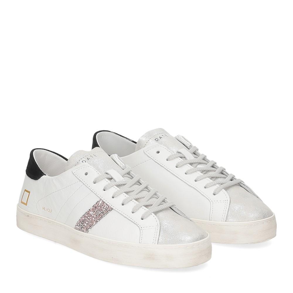 D.A.T.E. Hill Low calf white black glitter