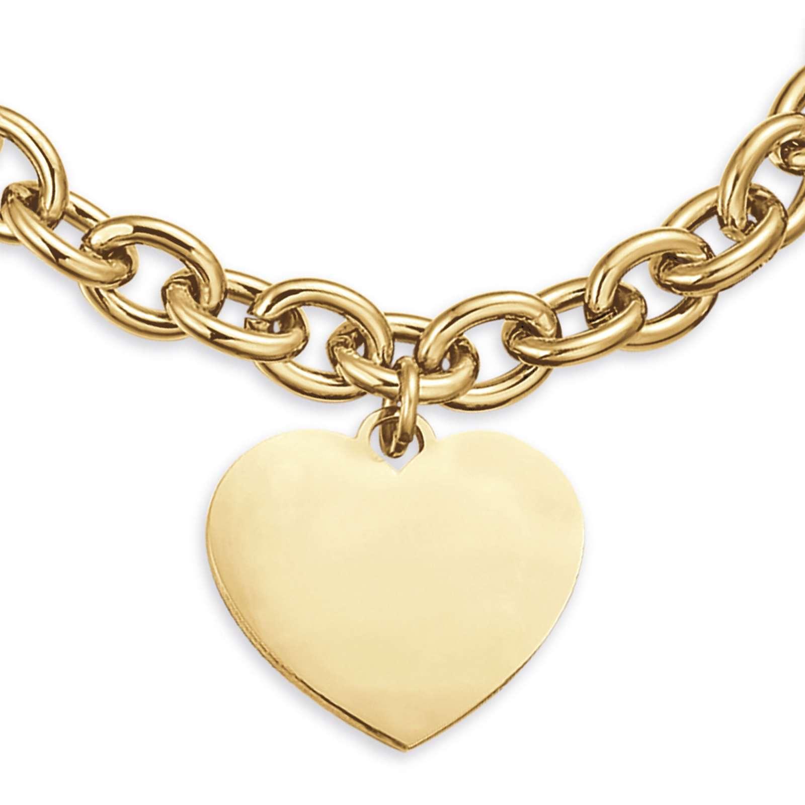 Luca Barra - Bracciale in acciaio gold con cuore per incisioni