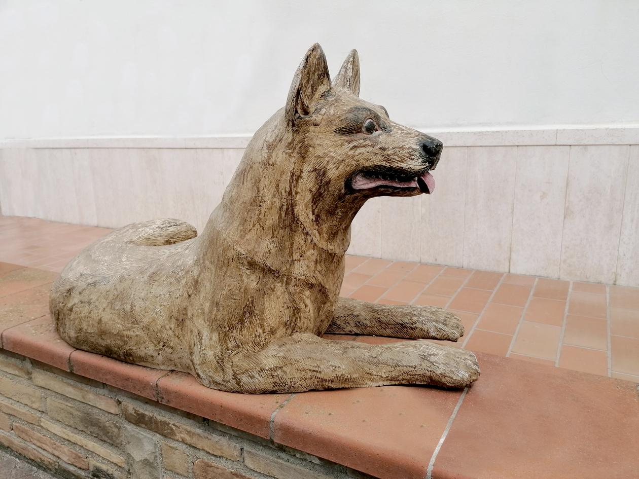 Scultura vintage in legno Pastore Tedesco