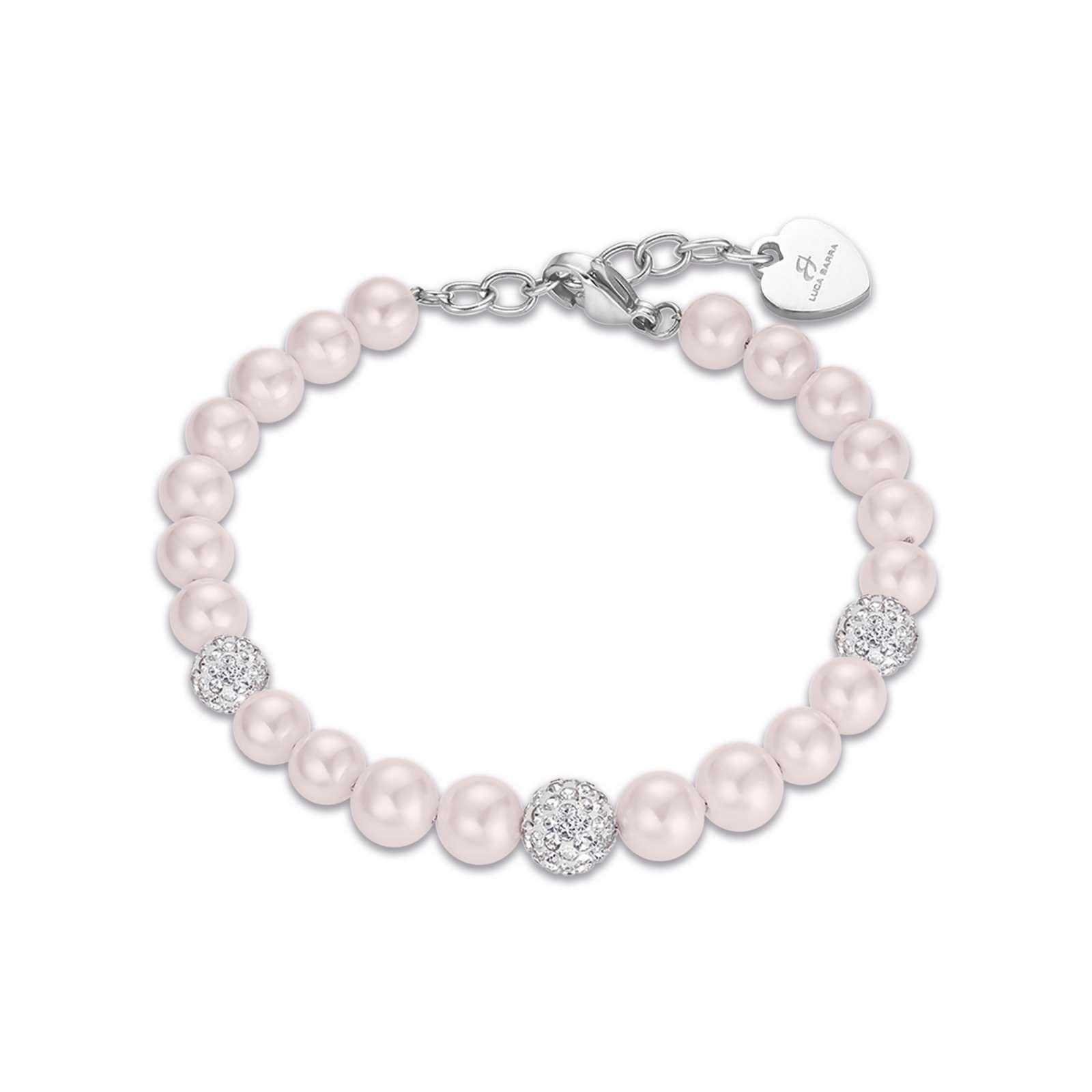 Luca Barra - Bracciale in acciaio con perle rosa e cristalli bianchi