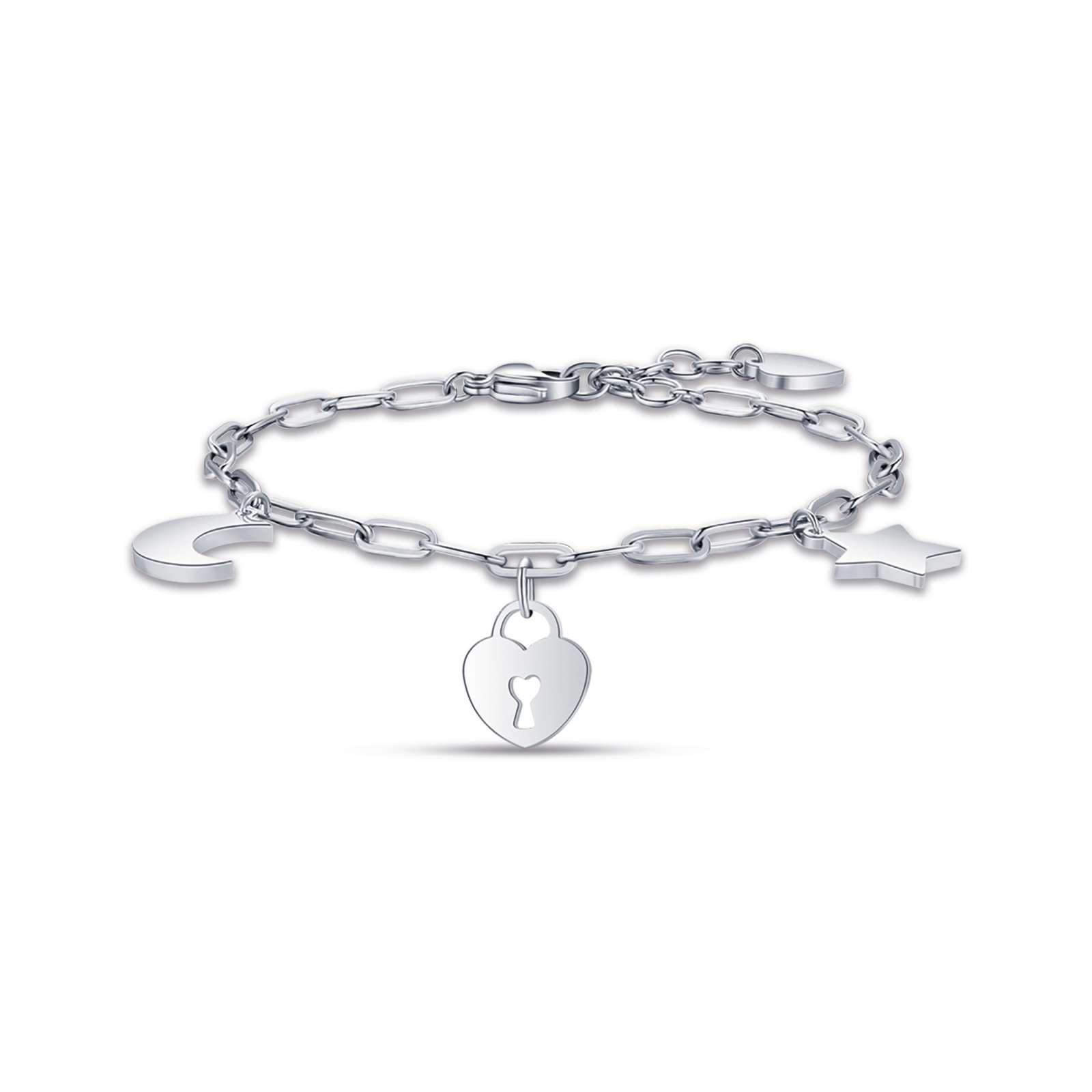 Luca Barra - Bracciale in acciaio con luna cuore lucchetto e stella