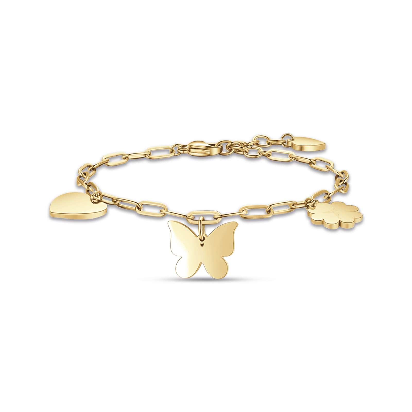 Luca Barra - Bracciale in acciaio ip gold con cuore farfalla e quadrifoglio