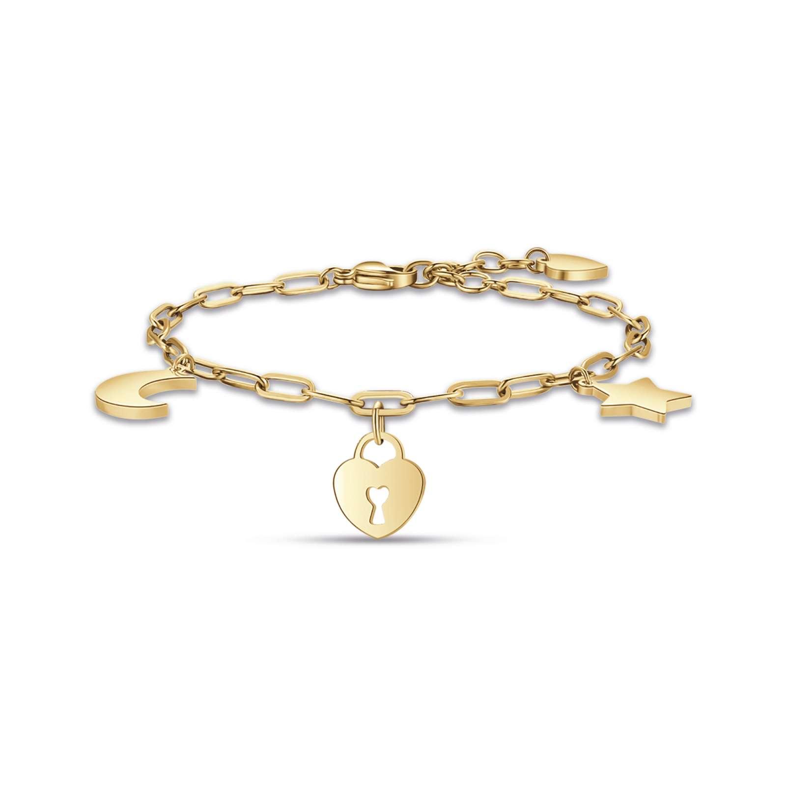 Luca Barra - Bracciale in acciaio ip gold con luna cuore lucchetto e stella