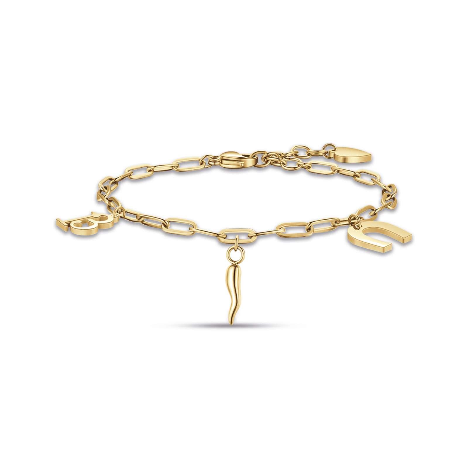 Luca Barra - Bracciale in acciaio ip gold con 13 ferro di cavallo e corno