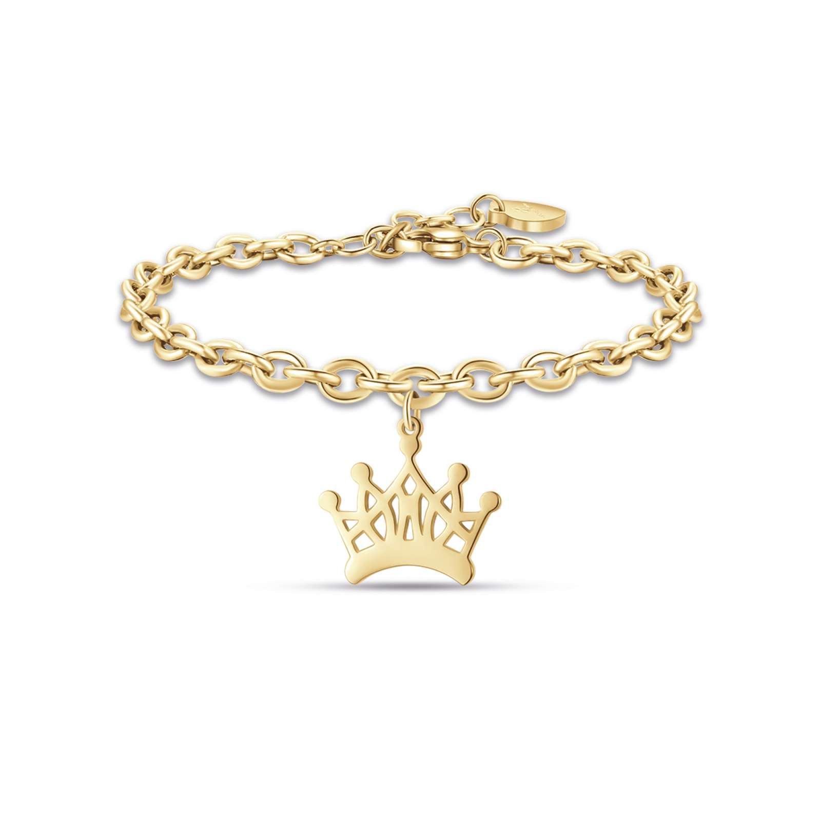 Luca Barra - Bracciale in acciaio ip gold con corona
