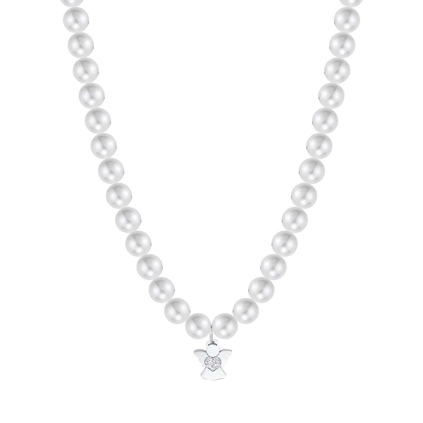 Luca Barra - Collana in acciaio con perle bianche e angelo