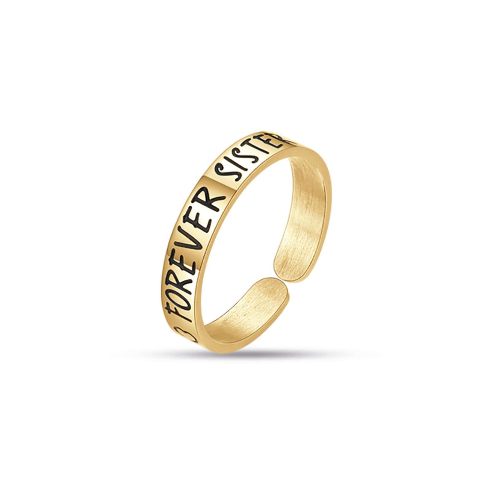 Luca Barra - Anello in acciaio gold forever sister