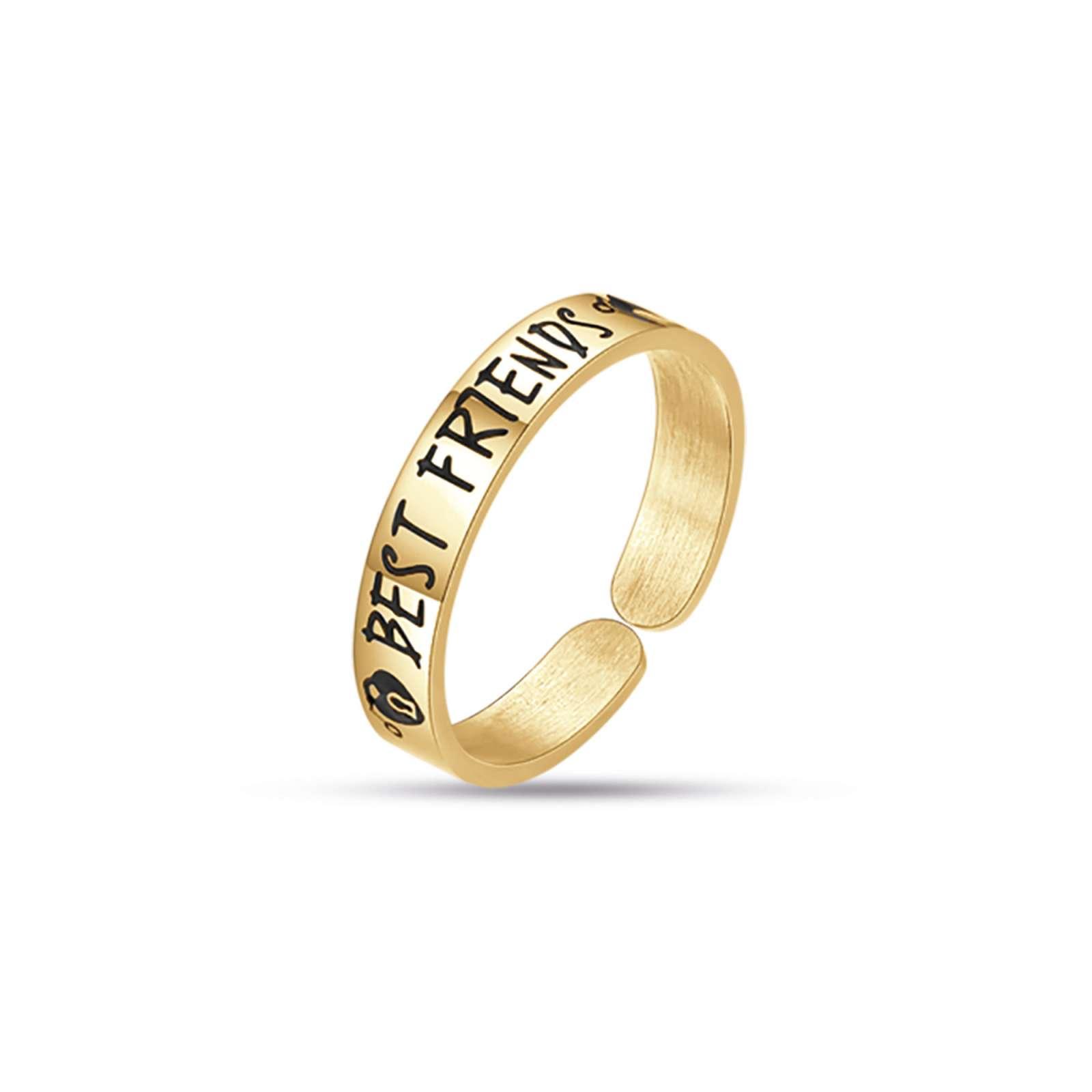 Luca Barra - Anello in acciaio gold best friends