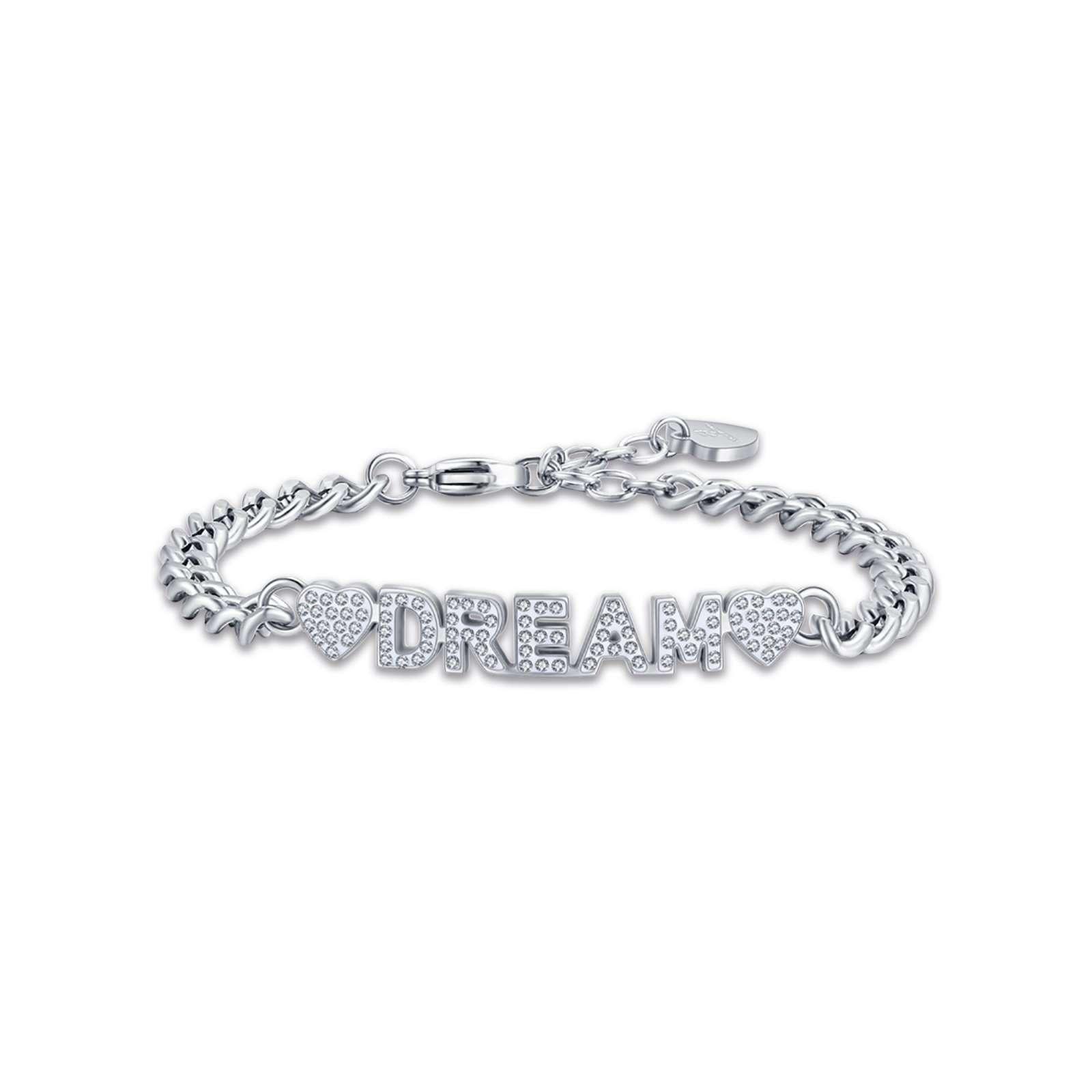 Luca Barra - Bracciale in acciaio dream con cristalli bianchi