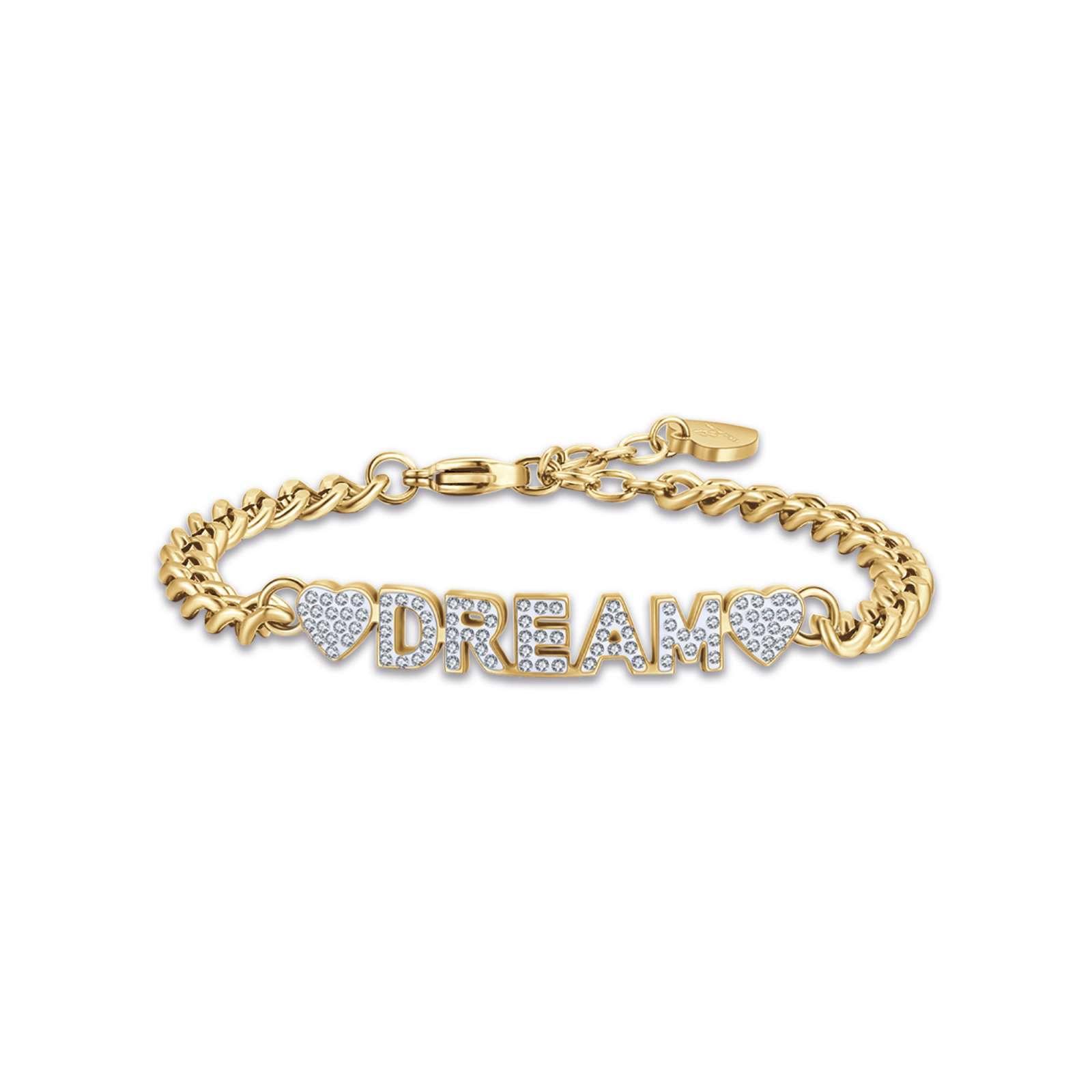 Luca Barra - Bracciale in acciaio gold dream con cristalli bianchi