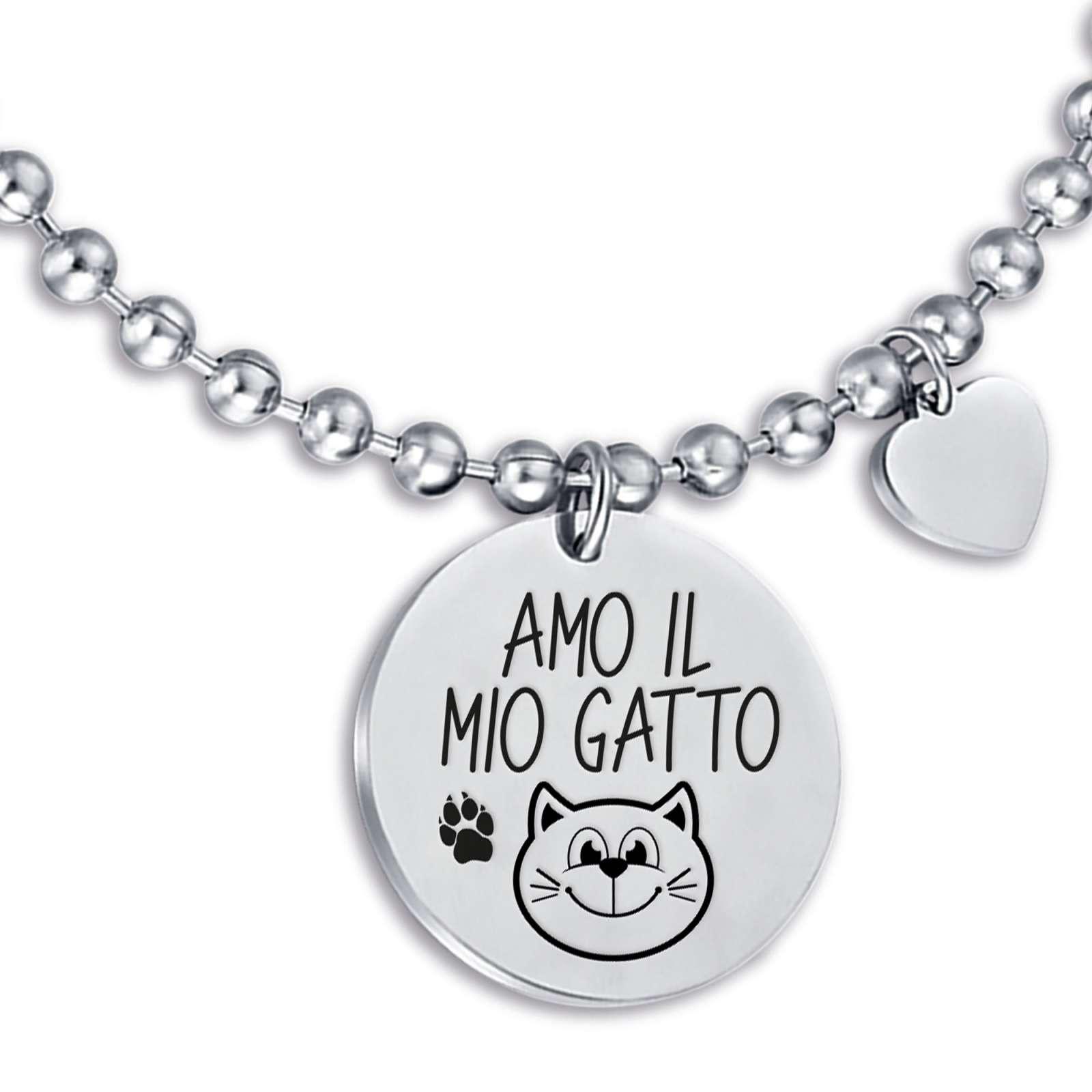 Luca Barra - Bracciale in acciaio amo il mio gatto