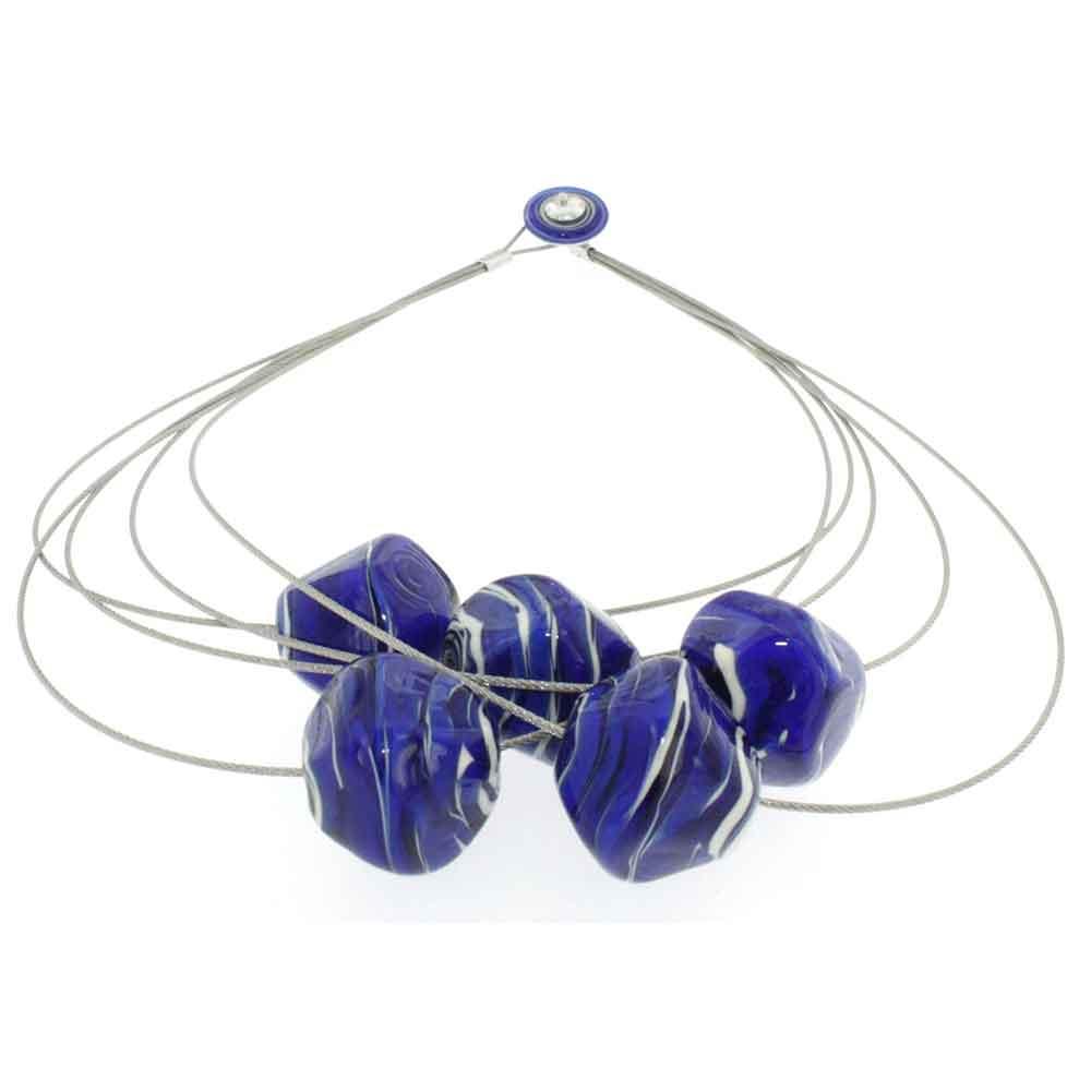 Collana artigianale di design in vetro di Murano STONE5 blu