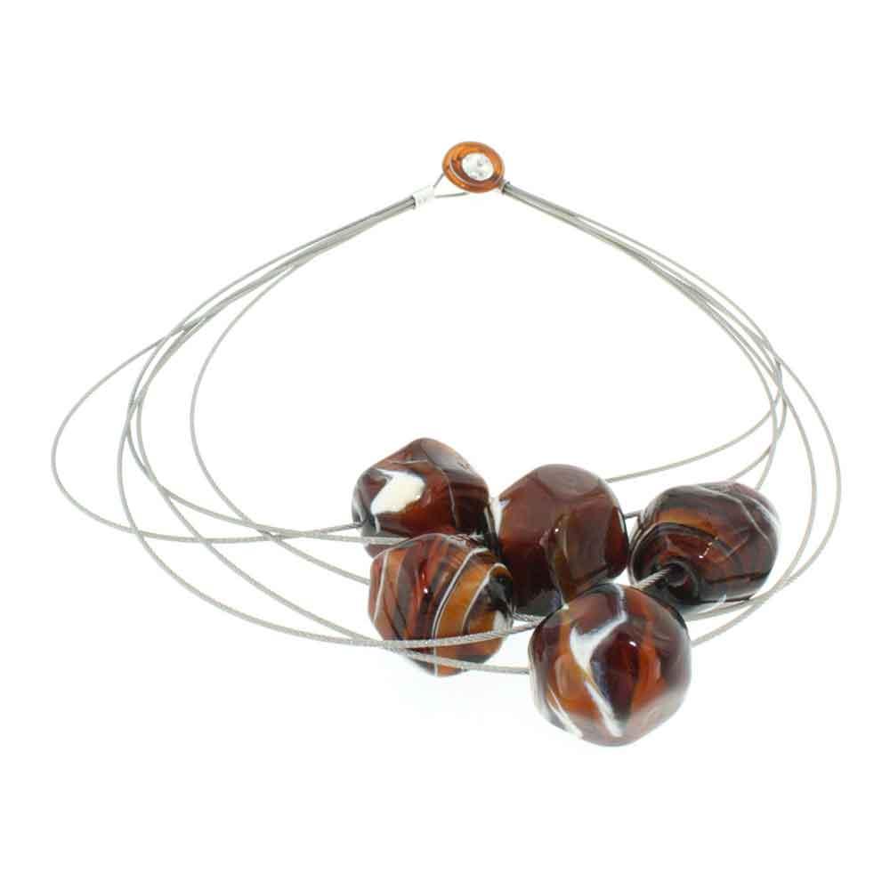Collana artigianale di design in vetro di Murano STONE5 caramel