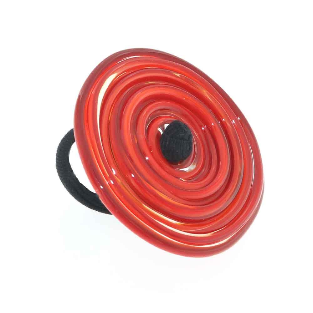 Anello artigianale di design in vetro di Murano Vortice XL 1° chakra rosso