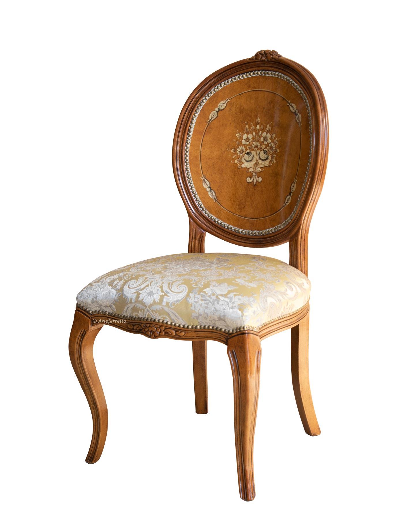 Chaise médaillon peinte