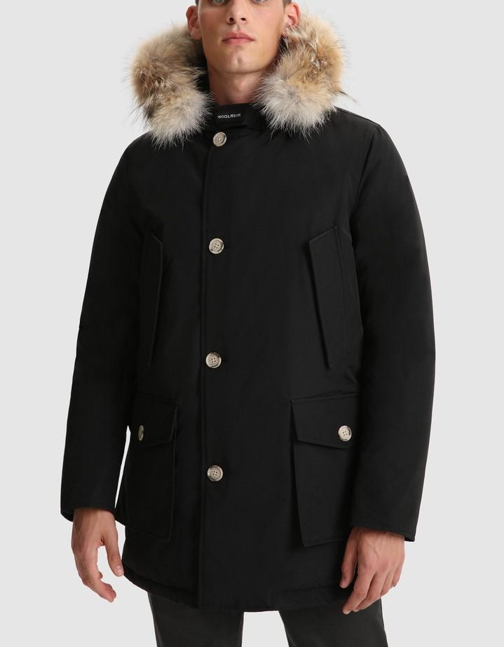 Giacca uomo WOOLRICH ARTIC PARKA BLACK con cappuccio removibile