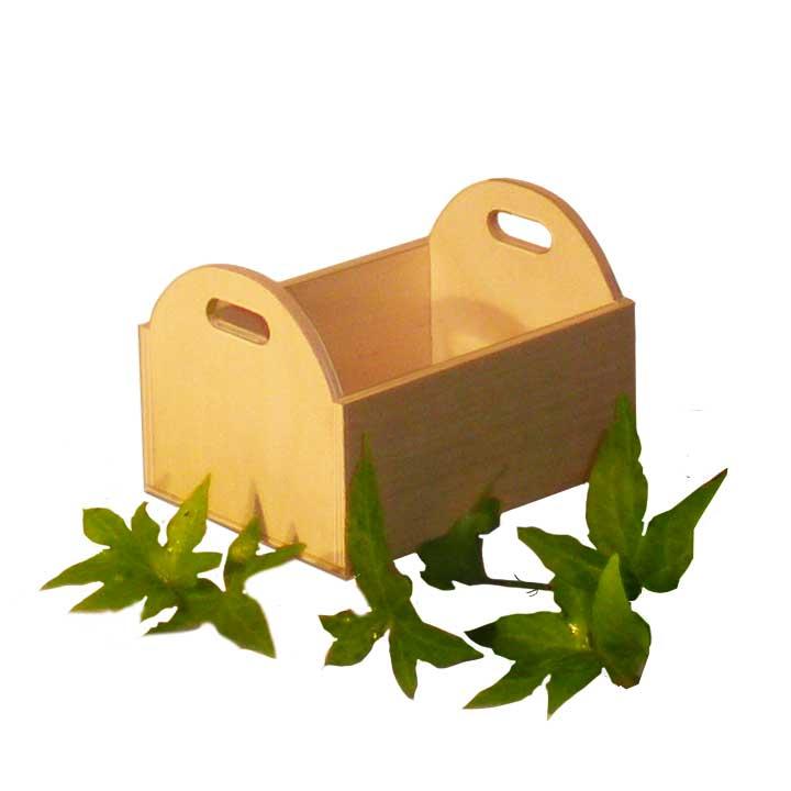 Vaschetta piccola in Betulla con lati corti arrotondati e foro presa mano