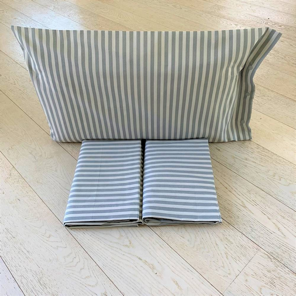Lenzuola flanella Riga bastoncino grigio singolo