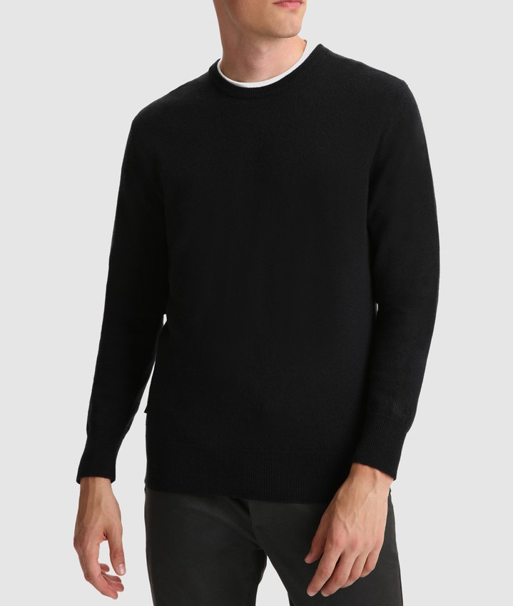 Maglione uomo WOOLRICH IN LANA SUPERGEELONG BLACK