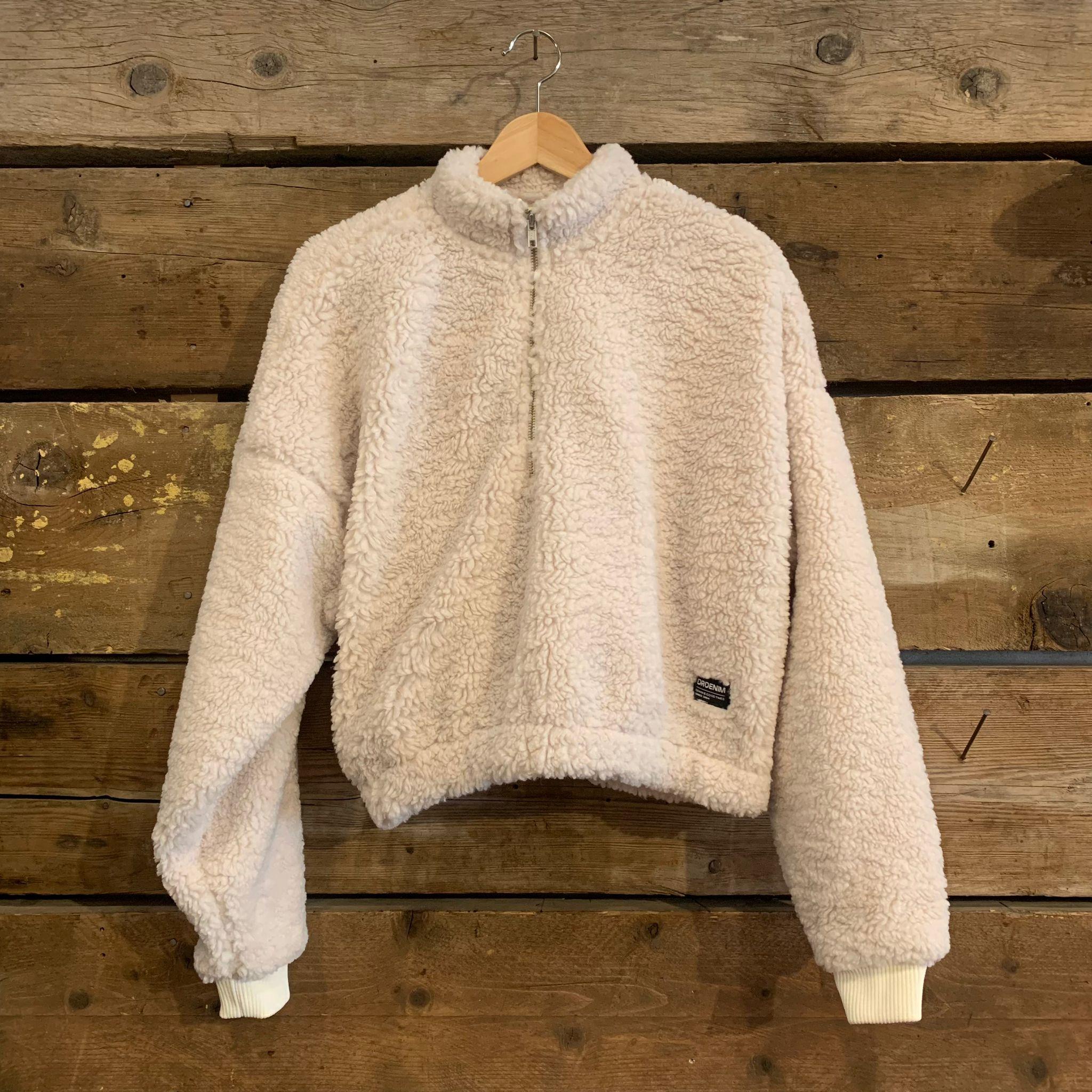 Felpa Dr. Denim Sanne Teddy Sweater Off White Cropped